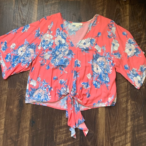 Coral with blue floral print tie-front blouse